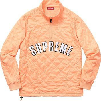 Supreme Arc Logo Quarter Zip Quilted Jacket - Peach