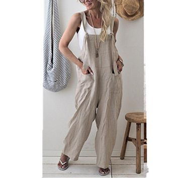 New Brand Women Casual Loose Cotton Linen Solid Pockets Jumpsuit Overalls Wide Leg Cropped Pants