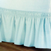 Luxurious Wrap Around Easy Fit Elastic Bed Skirt, Light Blue