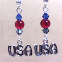 USA Charm Earrings, Red Glass Bead & Blue Crystal Silver Plated Pewter USA Charm Earrings, Handmade Original Fashion Jewelry, Patriotic Gift