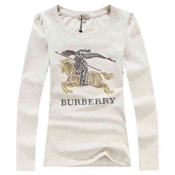 LMFON Burberry Fashion Sequins Logo Solid Long Sleeve Shirt Top Tee