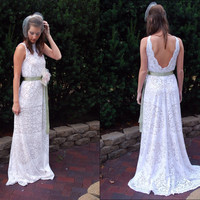 BOHEMIAN - LACE - Backless - Wedding Dress - Outdoor - Beach - Destination - BOHO - Gown