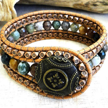 cuff leather beaded bracelet custom chan luu indie surfer zen style with faceted multicolor natural agate & copper floral beads