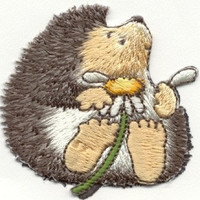 HEDGEHOG with DAISY Flower Iron or Sew On patch by Cedar Creek patch Shop on Etsy