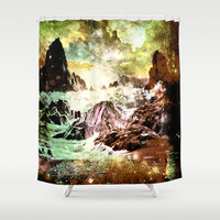 space mountains Shower Curtain by Haroulita