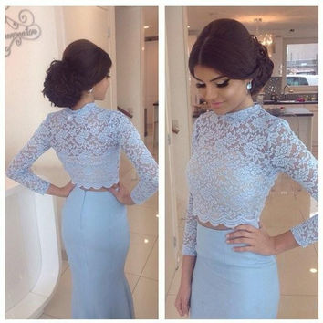 Baby Blue Modest Long Sleeves High Neck Two Piece Mermaid Prom Dresses Arabic Dubai Fashion Women Special Occasion Evening Gowns