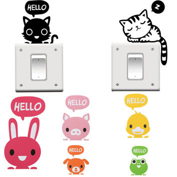 2Pieces Cute Animal Removable Art Vinyl Switch Sticker Home Wall Window Decor