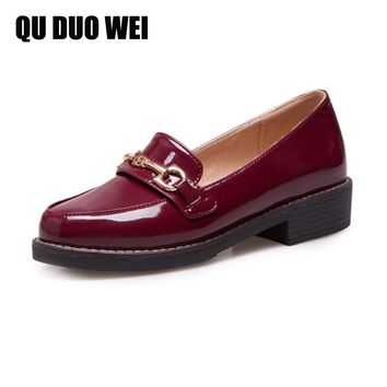 Women Flats Oxford Shoes Big Size Flat Patent Leather Vintage Shoes Round Toe Handmade 2018 Oxfords Shoes For Women Loafers