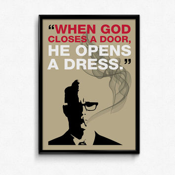 Mad Men Poster Roger Sterling Quote - Closes door, opens dress - Art Print, Multiple Sizes - 12x18, 24x36 - Vintage Style Minimal