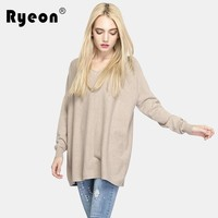 Ryeon Knitted Sweater Women Pullover Female Big Size Casual Loose V Neck Winter Sweater Autumn Pull Femme 2017 Knit Jumper Long