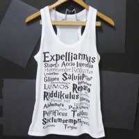 Harry Potter tank top magic spells movie, Lumos, White Women tops,teen Tank top size S,M,L,XL singlet tops shirt teen clothing muscle tee