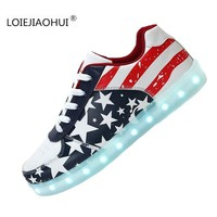 New Hot 2016 Luminous Shoes unisex Led glow Men & Women American flag USB Rechargeable Light Led Shoes for Adults Casual Shoes