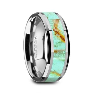 Pale Blue Turquoise Inlay Tungsten Wedding Ring, Beveled