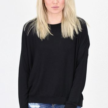 Lightweight French Terry Sweatshirt {Black}