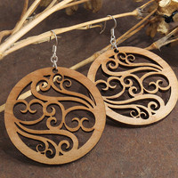 Filigree Earrings - Laser Cut Wooden Hoops - Sustainable Harvest Wisconsin Wood . Timber Green Woods