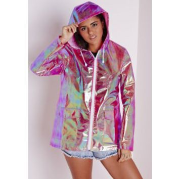 Holographic Rain Mac Pink - Coats and Jackets - Rain Macs - Missguided