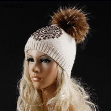 DCCKJG2 YHKGG 2016 Latest Fashion Five-pointed Star with A Diamond Winter Wool Knitted Beanies Warm Hat Knitted Cashmere