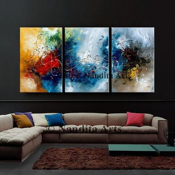 "Abstract Modern Art, 72"" Blue Painting Framed Original Canvas Art Luxury Style Contemporary Art Home Decor by Nandita"