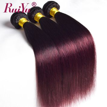 RUIYU Ombre Brazilian Straight Hair 1b/Burgundy Two Tone Ombre Hair Weave 3 Bundles Deals 99J Red Non Remy Human Hair Extensions