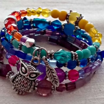 Memory Wire Wrap Bracelet, Owl Charm Bracelet, Multi Color Bracelet, Yellow, Orange, Aqua, Blue, Purple, Colorful Bracelet ANIMAL Collection
