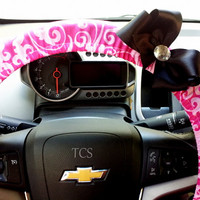 Pink Damask Steering Wheel Cover with Bow