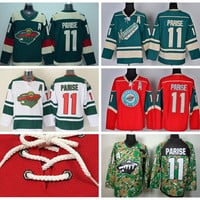 Minnesota Wild 11 Zach Parise Ice Hockey Jerseys Stadium Series Team Color Green Alternate White Red Camo Breathable For Sport Fans
