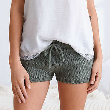 Aerie Cable Sweater Short , Jade