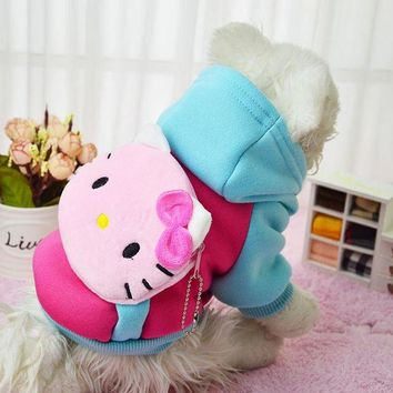 DCCKH6B 2016 New Hello Kitty Hot Soft Winter Warm Pet Dog Clothes Cozy Snowflake Dos Costume Clothing Jacket Teddy Hoodie Coat Coloful