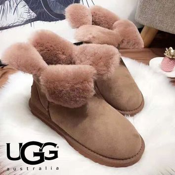 UGG Winter Trending Women Stylish Cute Leather Warm Wool Snow Boots