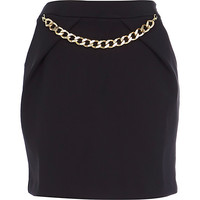 River Island Womens Black chain trim mini skirt