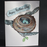 Happy Mothers Day Greeting Card - Original Watercolor