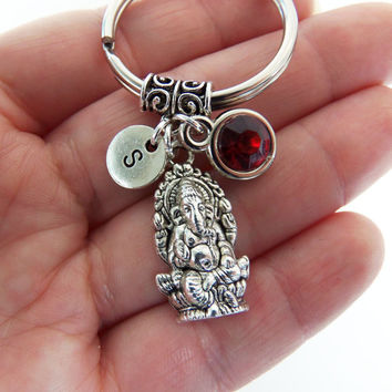 Ganesha keychain, ganesha key chain, ganesha keyring, ganesha key ring, elephant keychain, zen gifts, namaste, yoga, hindu, lord of success