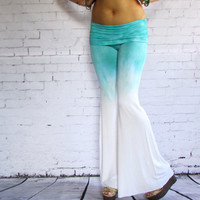 MINT OMBRE Tie Dye Flares Hand Dyed Boho summer pants wide leg yoga style fashion