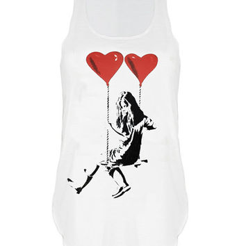 Banksy girl on balloon swing print top vest womens ladies tshirt