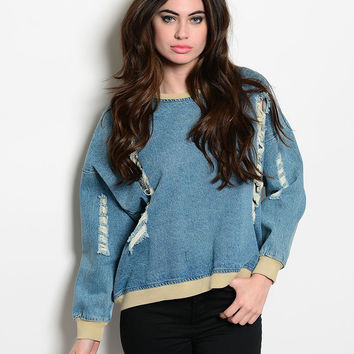 Denim Distressed Oversized Sweater