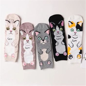 Animal Cat Face Women Socks Funny Crazy Cool Novelty Cute Fun Funky Colorful