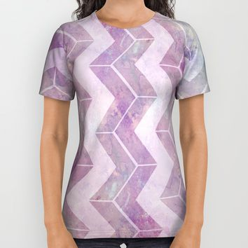 Watercolor pink pattern chevron All Over Print Shirt by VanessaGF
