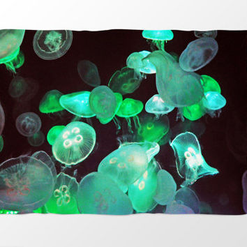 Green Moon Jellyfish - Fleece Blanket, Black Ocean Nautical Accent Throw Cover, Home Furnishing & Bedding Coral Fleece in 30x40 50x60 60x80