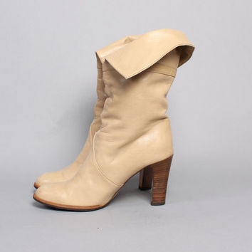 80s  BUCKLED Ivory Cuff BOOTS / Buttery soft High Heel Boots, 7.5