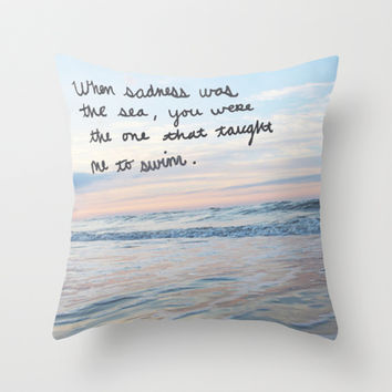 Sea of sadness Throw Pillow by Courtney Burns