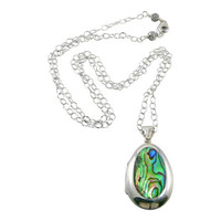 Abalone Sterling Silver Locket Necklace, Abalone Locket
