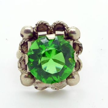 Vintage Mexican Emerald Glass Sterling Silver 925, Ring Size 7