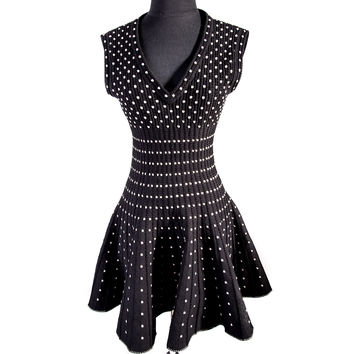 Black Silk Wool Blend Polka Dot Dress Size:36