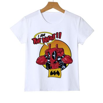 Newest Deadpool Kid/Children's T shirt Fashion Regenerating Jackass Design tops Darth King Printed Boy/Girl/Baby T-Shirts Y8-29