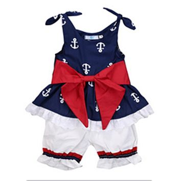 Baby Girl Clothes New Newborn Baby Girls Clothing Sleeveless Anchor Bow Cotton Tops Vest Shorts Outfits Set