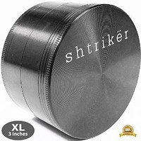 "Shtriker Herb Grinder 3.0"" - Tobacco Spice Herb Grinder 4 Piece with Pollen and Kief Catcher (Metal Grey, Extra Large Grinder)"