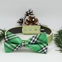 Plaid Burly wood Green Dog Bow Tie collar, Christmas Gifts, Green Dog birthday, Wedding accessory