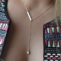 Womens Girls Elegant Vogue Golden Crystal Long Simple Necklace Trendy