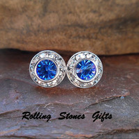 Sapphire 9mm Swarovski Silver Crystal Surrounds Stud Earrings-Sapphire Rhinestone Studs-Blue Crystal Studs-September Birthstone Crystal Stud