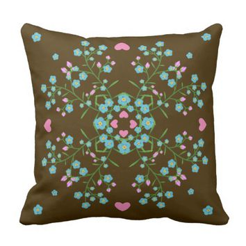 Forget-Me_Nots and Pink Hearts Mandala Throw Pillow